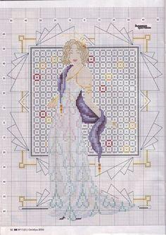 0 point de croix femme et dessins geometriques - cross stitch lady and geometric patterns