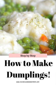 Easy Homemade Dumplings Recipe that's so tasty and delish! These steamed Dumplings can add so much flavor to just about any soup, just drop dough into Stew And Dumplings, How To Make Dumplings, Steamed Dumplings, Homemade Dumplings, Chicken And Dumplings, Easy Dumplings Recipe From Scratch, Chinese Dumplings, Dumpling Dough, Dumpling Recipe