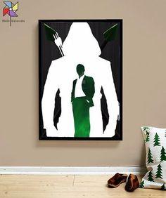 quadro poster ilustração arrow arqueiro verde tamanho a3