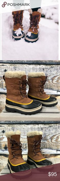"""Sorel Caribou """"Buff"""" color snow boot Sorel Caribou """"Buff"""" color snow boot Runs about 1/2 size big  Great winter boot  Preloved in excellent condition  Worn a handful of times Left heel """"Sorel"""" label has a little wear from driving   Thank you for checking out our closet Please feel free to bundle and save Sorel Shoes Winter & Rain Boots"""