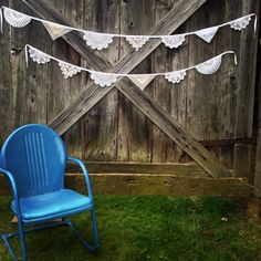Love the frilly, girly texture of these.  Vintage Lace Doily Banner Buntings