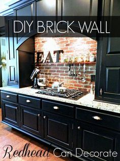 Grogeous DIY Brick Wall Backsplash On A Budget !