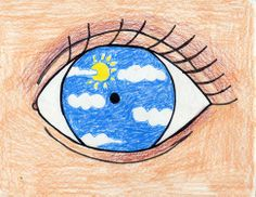 Use an old cd to trace center of the eye;   Students draw what character sees through eyes