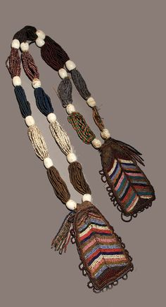 Nigeria | Beaded necklace ~ 'Odigba Ifa' ~ from the Yoruba people of Nigeria | Glass beads, cotton and leather | ca. early 20th century