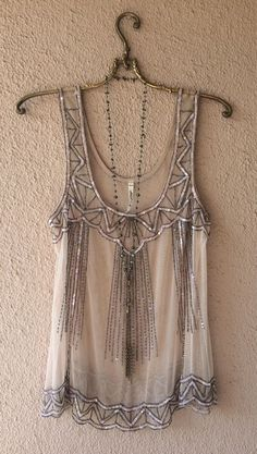 Image of Art DEco Anthropologie willow and clay beaded cami