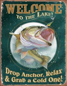 Welcome to Lake Fish Tin Sign