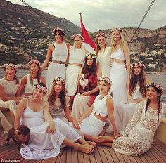 All dressed in white: To celebrate her upcoming wedding to Prince Andrea Casiraghi of Monaco on Sunday, Tatiana Santo Domingo is treating her bridesmaids to a princess-worthy hen party on a luxury yacht