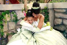 When Tiana hugged a mini-Tiana. | Community Post: 25 Times Disney Face Characters Were Completely Adorable
