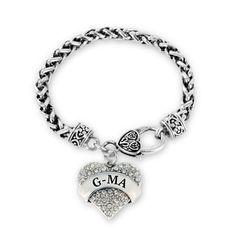 Gma Pave Heart Charm Bracelet