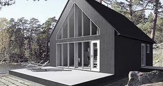 Sunhouse - prefab homes (Finland) Modern Prefab Homes, Modular Homes, A Frame House, Cabins And Cottages, Cottage Design, Little Houses, Exterior Design, Modern Architecture, House Styles