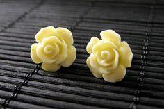 New to StumblingOnSainthood on Etsy: Yellow Flower Earrings. Gardenia Flower Earrings with Bronze Stud Earrings.. Handmade Jewelry. (10.00 USD)
