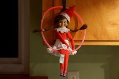 Elf on the Shelf, Elfie Mae is sitting on a glow stick that she got from the Christmas parade Birthday Elf, Friend Birthday, Elf On The Self, The Elf, Christmas Elf, Christmas Stuff, Holiday Fun, Holiday Decor, Glow Sticks