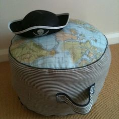 Gorgeous vintage inspired map and stripe ticking kids ottoman/pouf by coco & milo