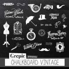 Chalkboard clipart Vintage digital clipart by Grepic - #vintage #chalkboard #clipart