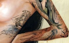 I just love the ship art! | pirate ship, octopus, jellyfish, mermaid and compass rose | #tattoo #tattoos #ink