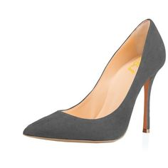 FSJ Women Faux Suede Pointed Toe High Heel Pumps Sexy Slip On... (1.840 RUB) ❤ liked on Polyvore featuring shoes, pumps, pointed toe high heel pumps, slip-on shoes, wide width shoes, high heel shoes and sexy high heel pumps