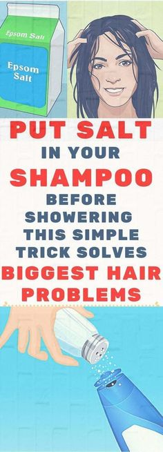 Put Salt In Your Shampoo Before Showering. This Simple Tricks Solves One Of The Biggest Hair Problems Tips and tricks Health And Beauty Tips, Health Tips, Health Trends, Salt Shampoo, Dandruff Remedy, Acne Treatments, Cellulite Remedies, Facial Toner, Salt