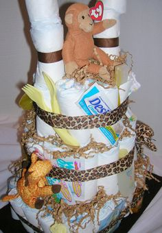 Jungle Theme Diaper Cake for Baby Shower or New Baby
