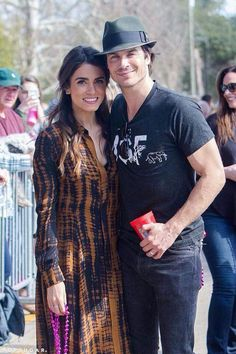 Nikki and Ian Somerhalder with fans at MardiPaws Parade in NOLA serving as MardiPaws Gran Monarchs ~ Sunday, February 14, 2016