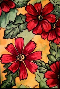 4 x6 Copic Marker on Rice paper Created by Lynne Howard