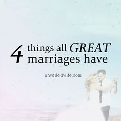 4 Things All Great Marriages Have --- Being unveiled is something that takes time to learn and grasp. Here is another awesome guest post from Kate Aldrich from One Flesh Marriage and she shares on the significance of being unveiled! Kate writes: I spent the […]… Read More Here http://unveiledwife.com/4-things-all-great-marriages-have/