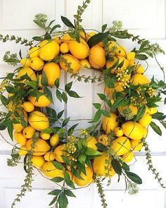 Lemon's bright, sunny hue is a perfect match for the summer season, and these lemon home accents infuse your interior design scheme with citrus. From coasters to wall art, there's plenty on offer for those who love lemon. Lemon Wreath: This su Wreath Crafts, Diy Wreath, Door Wreaths, Diy Crafts, Wreath Ideas, Swag Ideas, Corona Floral, Lemon Wreath, Fresh Wreath