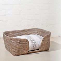 Doggie bed easily made using as the woven basket!