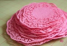 DIY: Dyed paper doilies To dye doilies: a portion of a pot, tupperware, or kitchen sink with hot water (doesn't need to be too too hot). some RIT dye the doilies and submerge. Doilies Crafts, Paper Doilies, Diy Paper, Paper Crafts, Diy And Crafts, Arts And Crafts, Scrapbooking, Fru Fru, Party Planning