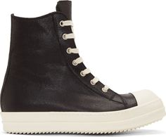 Rick Owens Black Leather Cap-Toe Sneakers