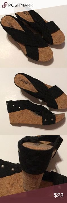 Lucky Brand Sandals Black wedges in good used condition Lucky Brand Shoes Wedges