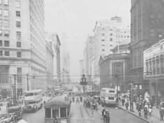 """Streetcars, traffic and pedestrians at East 9th Street and Euclid Avenue intersection Subject Euclid Avenue (Cleveland, Ohio) Streets City & town life Streetcars Description """"Euclid Ave., 1925"""" -- photo verso"""
