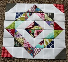 Quilt Block--these are the complicated kind that are fun to blow up really big into a one-block baby quilt!
