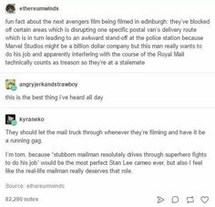 This is the best thing ever. Mailmen. Marvel. Avengers. MCU