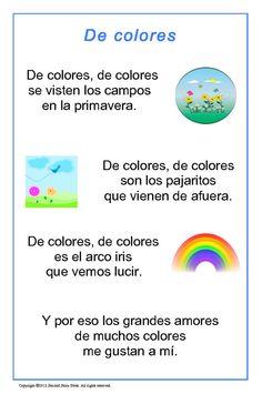 Spanish Songs and Rhymes - Italian, French and Spanish Language Teaching Posters Preschool Spanish, Learning Spanish For Kids, Spanish Lessons For Kids, Spanish Basics, Elementary Spanish, Preschool Songs, Spanish Activities, Spanish Classroom, Teaching Spanish