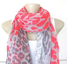 Fashion Scarf Coral and Gray Animal Print Large Scarf