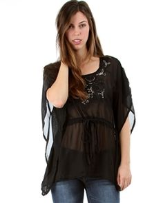 Black Chiffon Sequin Blouse with Cinched Drawstring Waist