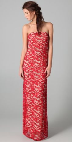 Strapless Lace Column Dress by Adam Lippes