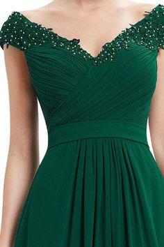 Floral Applique Evening Dress - GREEN L
