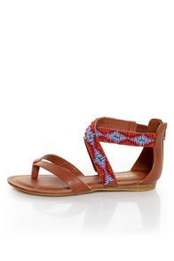 Chestnut Beaded Gladiator Sandals
