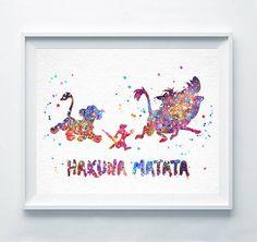 Hakuna+Matata+Watercolor+Print+The+Lion+King+Simba+от+DROPINDROP