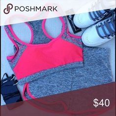Workout Set - Bra & Shorts Bra is padded. Pads can be removed. Fits small and medium sizes. Color is light pink. Boutique Shorts