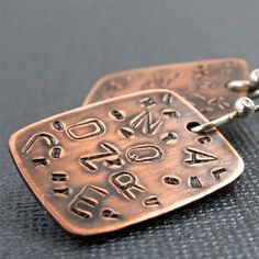 Alphabet Copper and Sterling Earrings by manicmetals on Etsy, $38.50