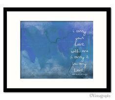 This listing is for a giclée print of my original watercolor and typography painting, I Carry Your Heart in Blue    PRINT DETAILS  Medium: