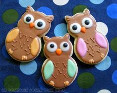 Wouldn't these owl cookies go perfectly with our personalised owl stationary    http://www.pinkfrosting.com.au/shop/item/baby-owl-personalised-party-invitations/pink-frosting-designs    http://www.pinkfrosting.com.au/shop/item/two-owls-engagement-personalised-party-invitations/pink-frosting-designs