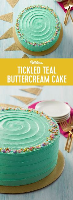 Whether you're having a big birthday party, a retirement party or you just want to make a cake for girl's night, this Tickled Teal Buttercream Cake is a great treat to make for a large crowd. Featuring bright teal icing and a fun assortment of colorful sprinkles, this buttercream cake is great for beginners and easy to personalize to suit a wedding shower, baby shower or birthday party. #wiltoncakes #cakedecorating #buttercream