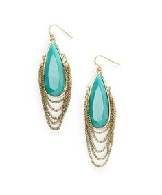 Another great find on #zulily! Gold & Turquoise Chain Teardrop Earrings by Treska #zulilyfinds $11.99