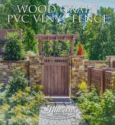 Great landscaping ideas come from the heart. Wood grain PVC vinyl fence from @illusionsfence looks like stained wood fence without the maintenance. Privacy fence, pergolas, gates, lattice fence. All in Grand Illusions Vinyl WoodBond Walnut (W103) #fenceideas #landscapingideas