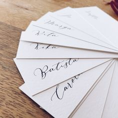 Handwritten placecards ready to be dipped in fruit and vegetable juices. #wedding #stationery #calligraphy