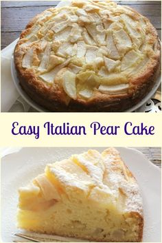 Easy Italian Pear Cake, a delicious moist Italian cake made with fresh pears and mascarpone. A perfect breakfast, snack or anytime cake recipe. Pear Dessert Recipes, Cupcake Recipes, Just Desserts, Baking Recipes, Delicious Desserts, Cupcake Cakes, Cupcakes, Pear Recipes Uk, Italian Desserts
