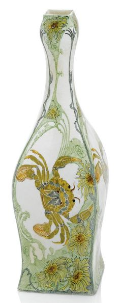 Rozenburg eggshell porcelain vase, painted by S. Schellink 1900 the square sectioned body decorated with four crabs amidst sea anemones and weeds in shades of green, brown, yellow and blue on a white ground stamped factory mark, painted date code, painters monogram and order no. 822 height 27,2 cm, cracks